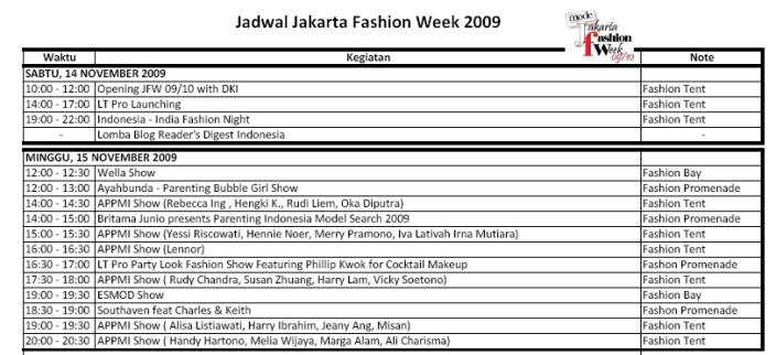 jADWAL jAKARTA fASHON wEEK 2009-2010