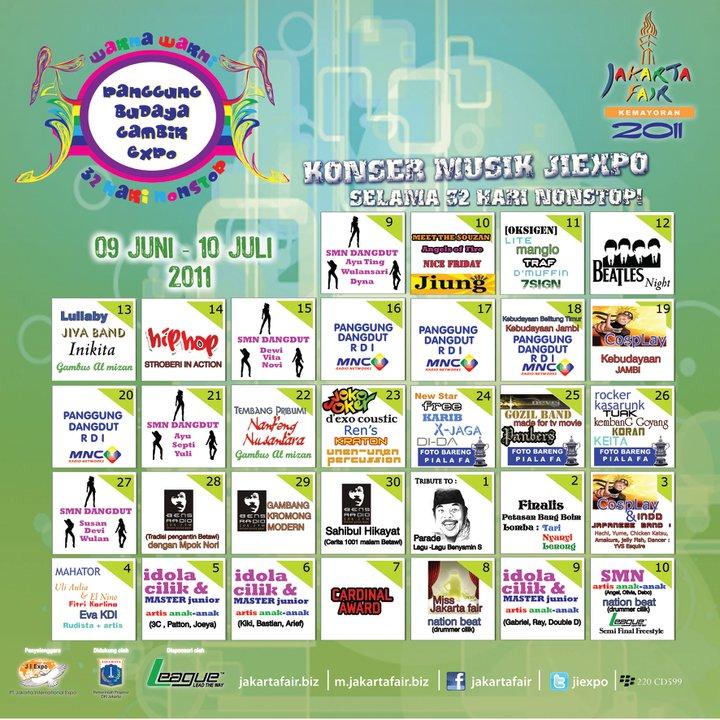 Jadwal Artis panggung Pekan Raya Jakarta PRJ 2011