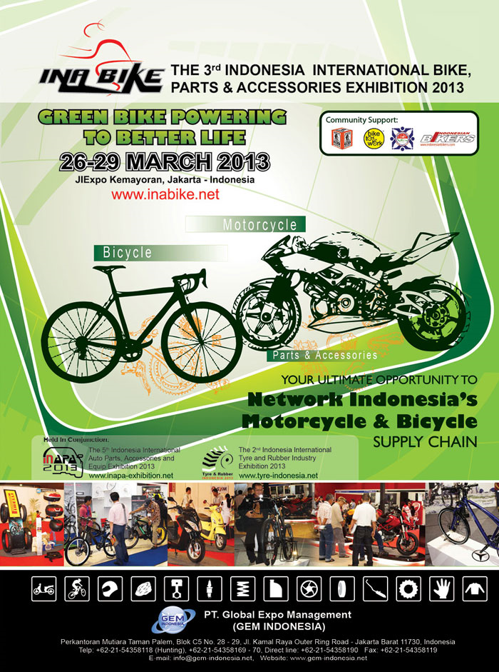 The 3rd Indonesia International Bike, Parts and Accessories Exhibition 2013 (INABIKE 2013)