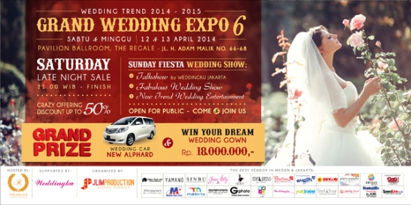Grand Wedding Expo 6 By JLIM Wedding Organizer, Weddingku & Regale International Convention Center, Pavilion Ballroom, The Regale - Jl.H.Adam Malik No.66-68, 12-13 Apr 2014