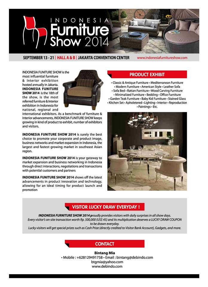 Indonesia Furniture Show 2014 Ifs 2014 171 Informasi Pameran Event Dan Bazaar Indonesia