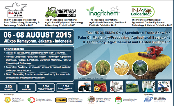 INAPALM ASIA 2015, INAGRITECH 2015, INAGRICHEM 2015, INAGARDENTECH 2015