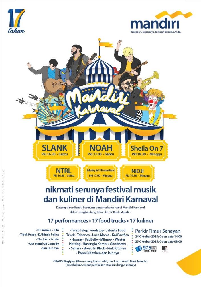 Mandiri Karnaval 17 tahun 24 -25 Oktober 2015